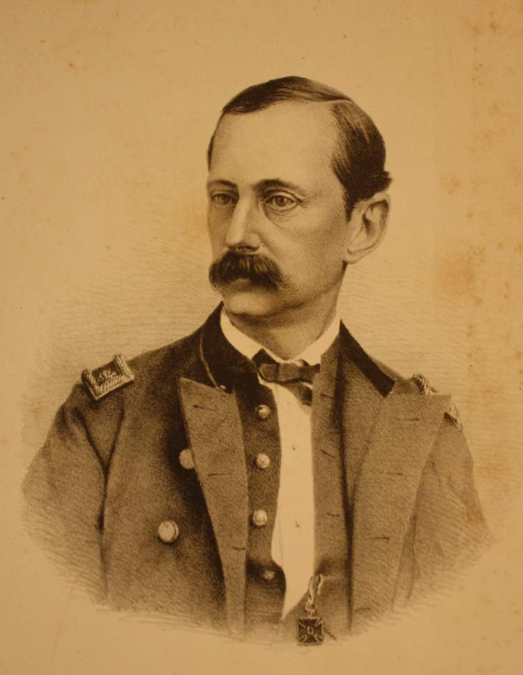 Sepia tone portrait, head and shoulders only of Major Henry Abbot