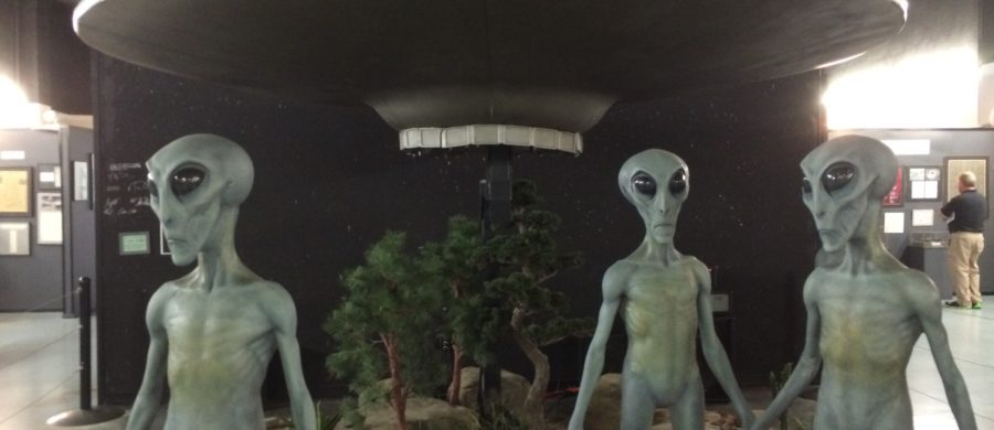 Photograph of aliens and spaceship exhibit at the UFO museum in Roswell, New Mexico.
