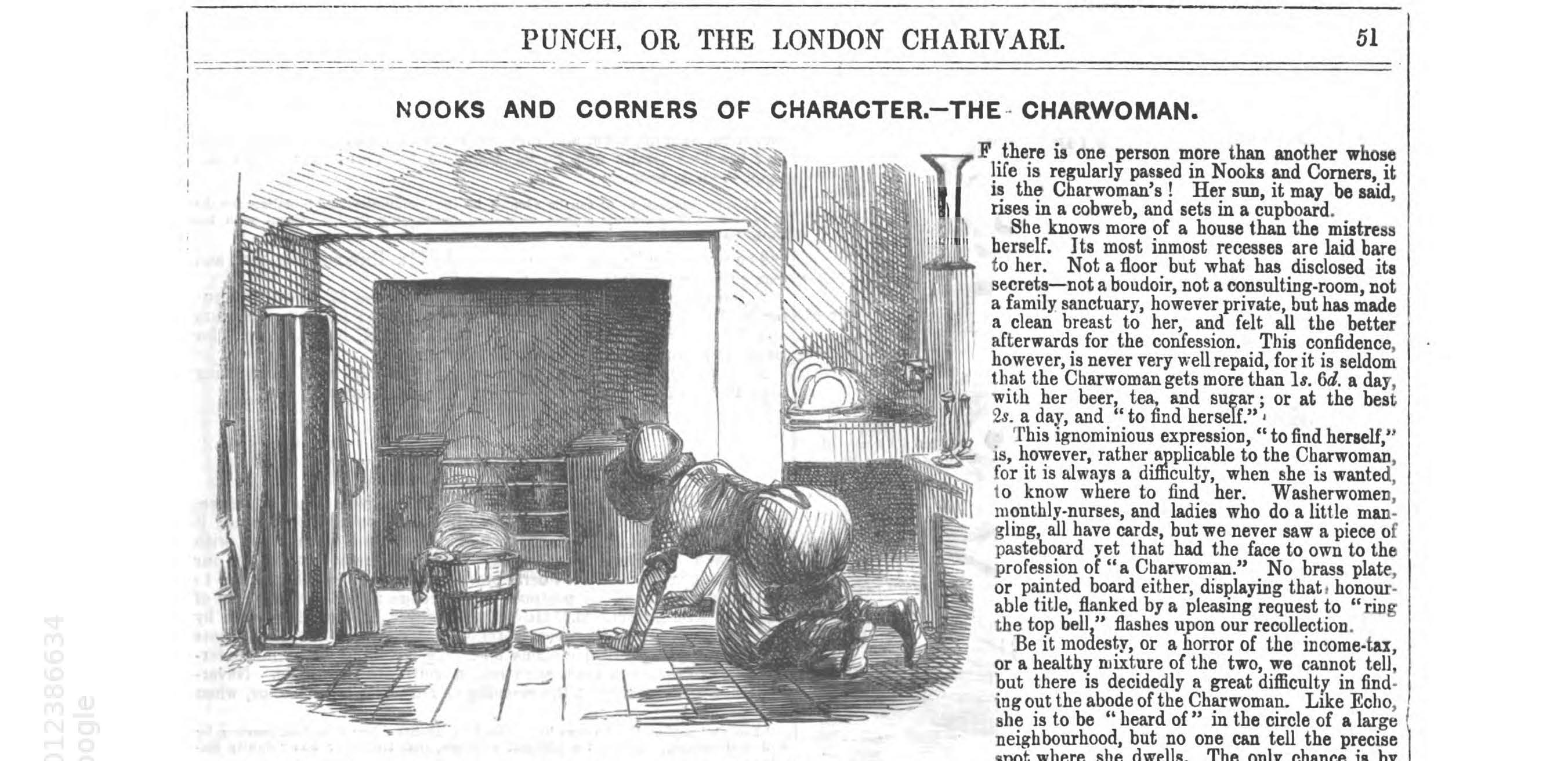 Line drawing of a charwoman on her hands and knees scrubbing the are in front of a fireplace.